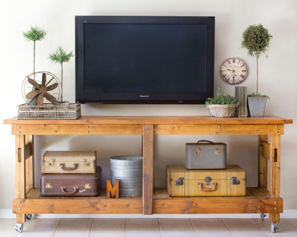 decorate around the TV with a workbench console and minimal decor (Brooklyn Limestone)