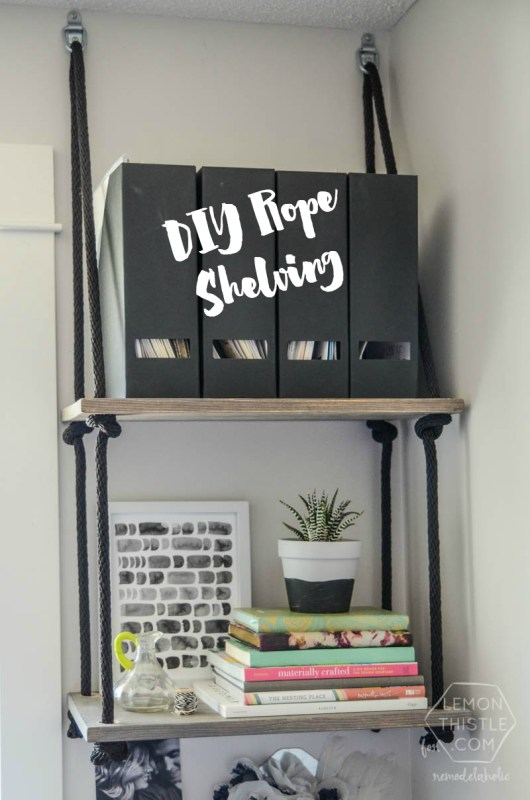 Add easy and inexpensive storage anywhere you need it with this simple DIY rope shelving. Just drill, knot, and hang!