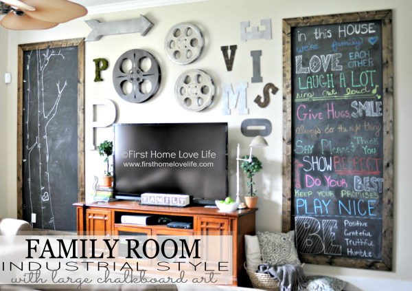 extra-large chalkboards and industrial gallery wall around television (First Home Love Life)