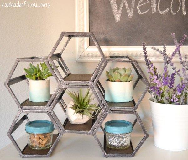 geometric wine rack into desk display shelf