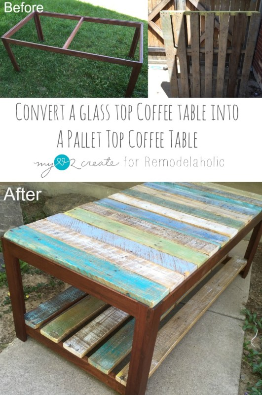 glass top coffee table into pallet top coffee table