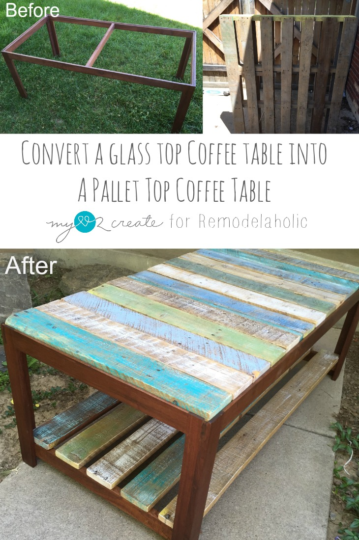 Remodelaholic | Update A Glass Top Coffee Table With A Pallet