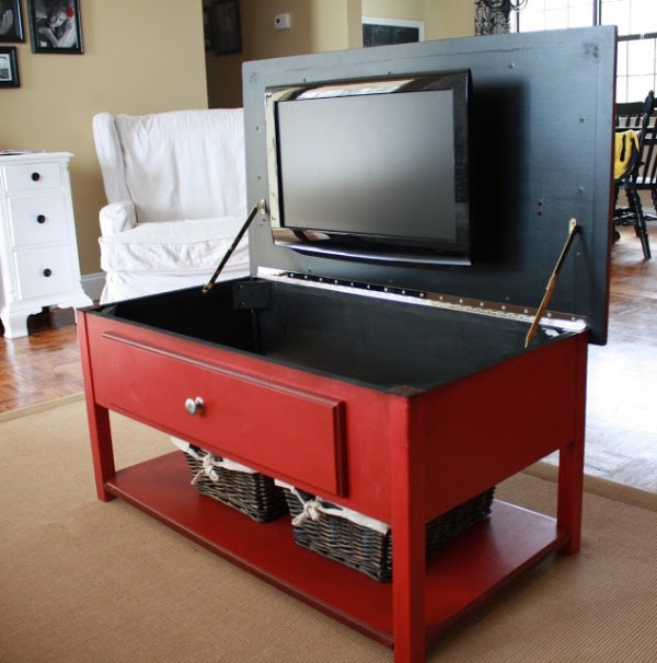 hide a television in a coffee table or bench (Just Laine)