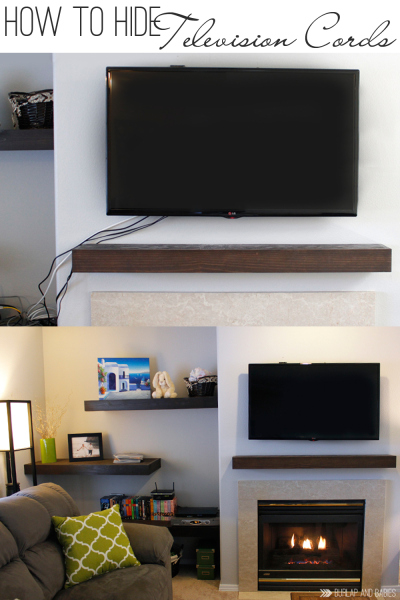 how to hide television cords in the wall (Burlap and Babies)