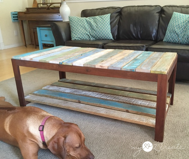 pallet coffee table with dog