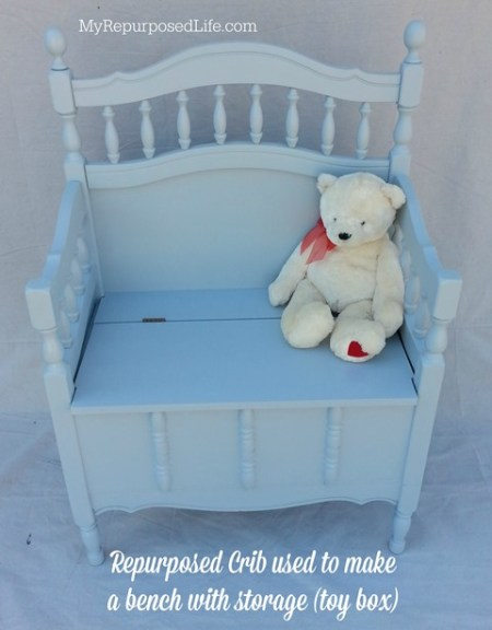 repurposed crib into bench with storage, My Repurposed Life