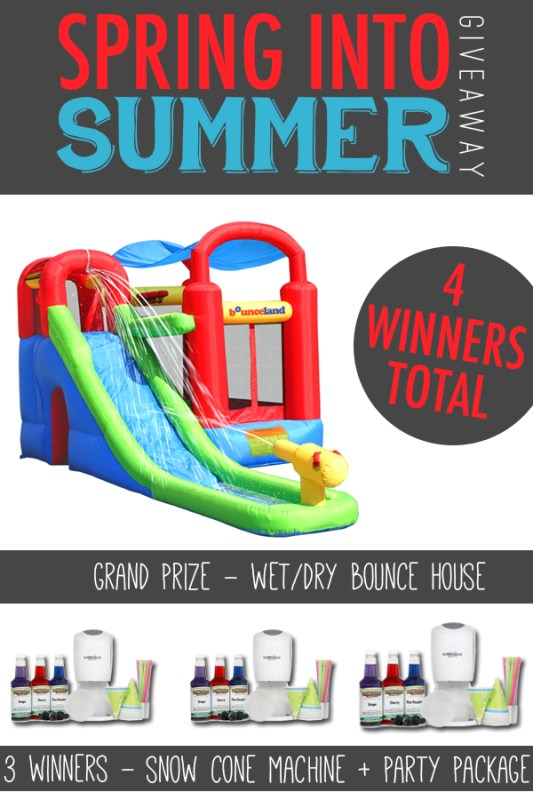 Awesome giveaway to get you ready for summer fun! Win a bounce house water slide or a snow cone party pack!