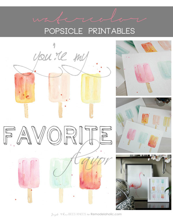 Summer Printable Popsicle Wall Art Set, Instant Download PDF, Sarah Langtry For Remodelaholic