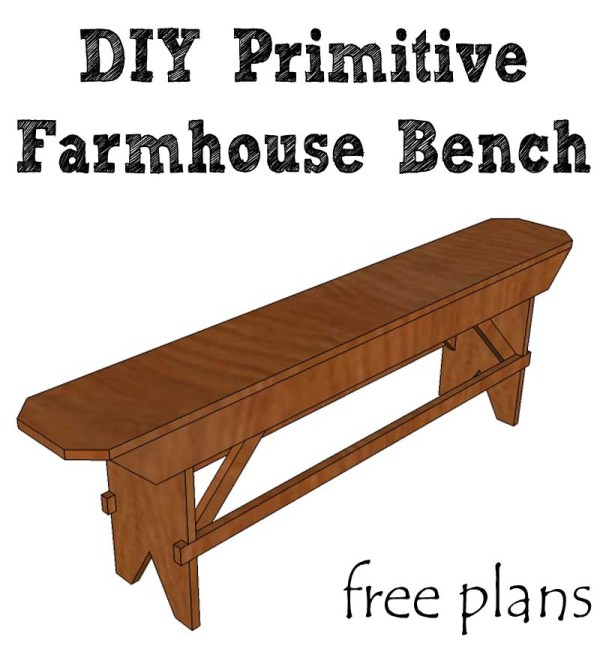 DIY primitive farmhouse bench free plans