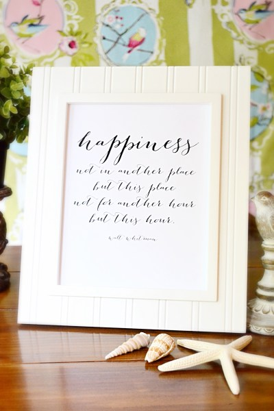 Happiness Printable, Walt Whitman Quote