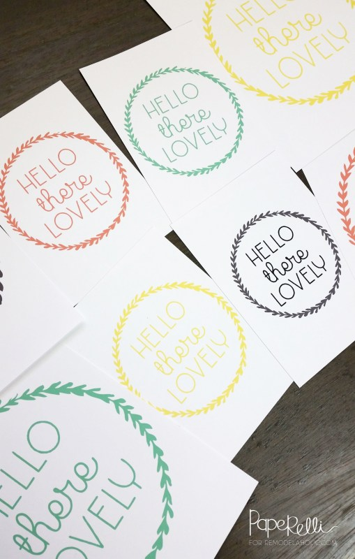 Easy free printable art! Hello There Lovely, available in 2 different sizes, 4 different colors. Fill in a space in your gallery wall, or give as a gift.