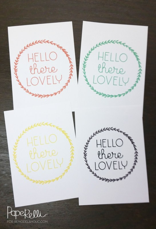 Hello There Lovely! Spice up any room and welcome every guest with this free printable, available to print in 4 different colors.