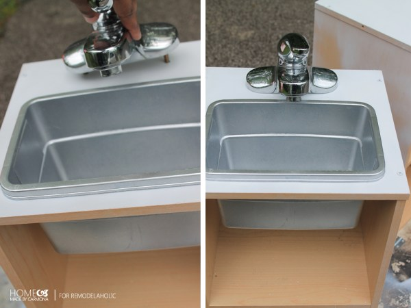 Cheap and easy play sink for a kids kitchen playset