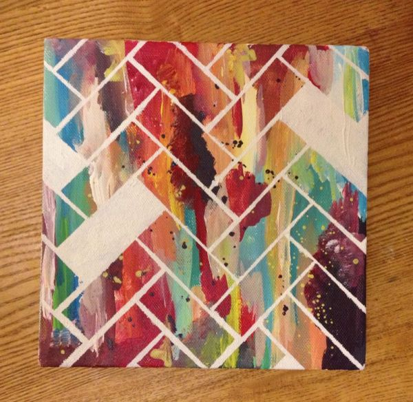 Easy Art Ideas for Kids Room Decor: abstract herringbone art (oohilikethat)