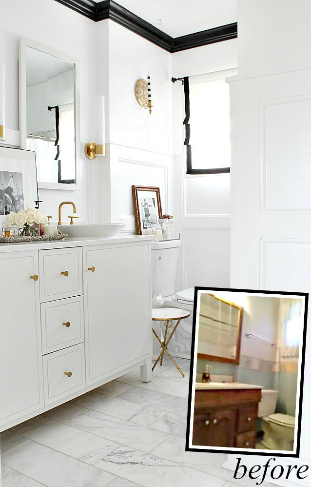 black and white bathroom makeover with black crown molding (Bliss At Home)