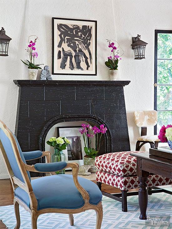 black painted stone fireplace (BHG)