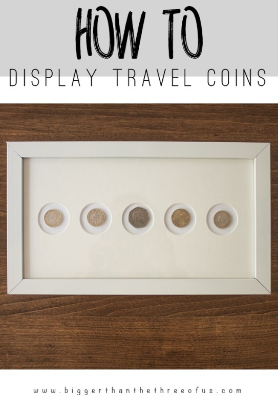 DIY Wall Decor Ideas: display travel coins as wall art (Bigger Than The Three of Us)