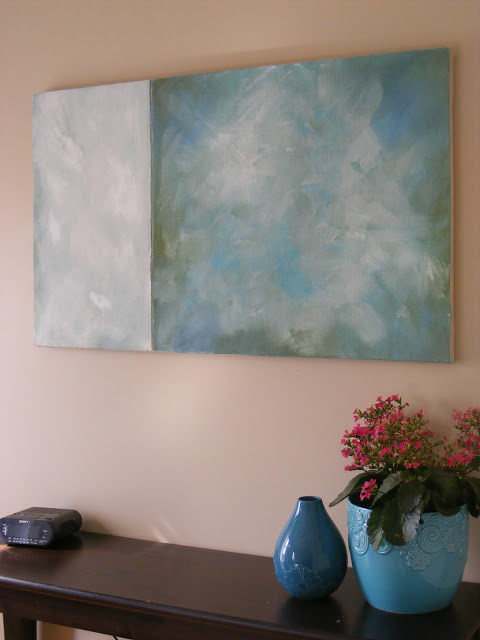 Large Wall Decor Idea: diy canvas and large abstract art (Imperfect Homemaking)