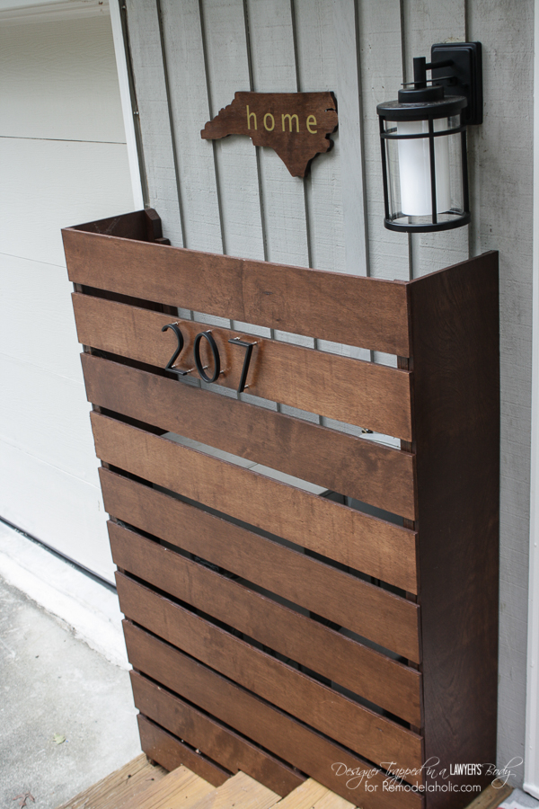 Remodelaholic diy wood screen to hide utility boxes How to disguise wood paneling