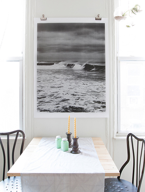 Easily Hang Large Wall Art, An Engineering Print With Binder Clips (via  Design Sponge