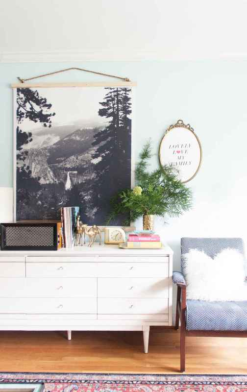 Large DIY wall decor ideas: easy way to hang an engineer print (Lay Baby Lay)