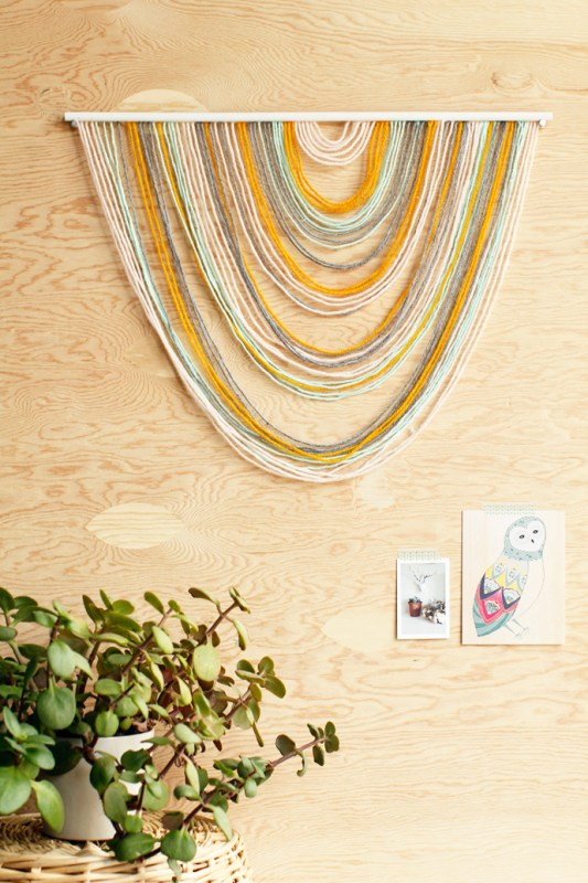 Easy Art Ideas for Kids Room Decor: easy yarn art tapestry (For The Love Of)