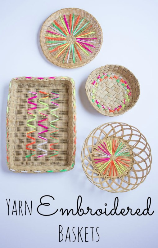 Easy Art Ideas for Kids Room Decor: embroidered baskets diy art (Design Improvised)