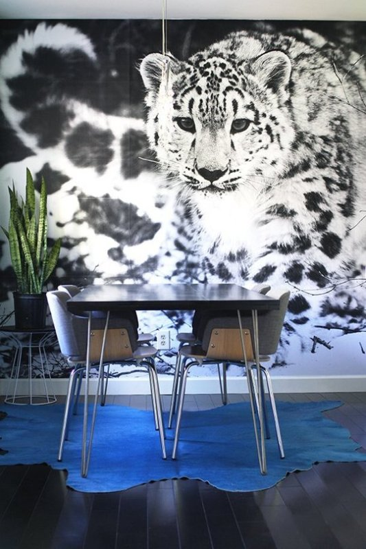 Large Wall Decor DIY: engineer print wallpaper via Apartment Therapy