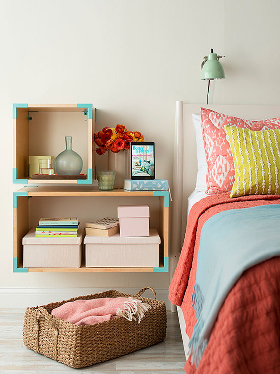 floating boxes as bedside tables (BHG)