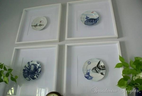 DIY Wall Decor Ideas: framed plates wall decor (Broadview Heights)