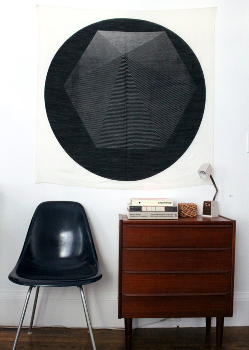 Hang An Extra Large Scarf For Inexpensive Wall Art (via Design Sponge)