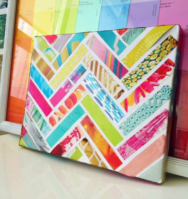 Easy Art Ideas for Kids Room Decor: herringbone strips of paper art (Sketchy Styles)