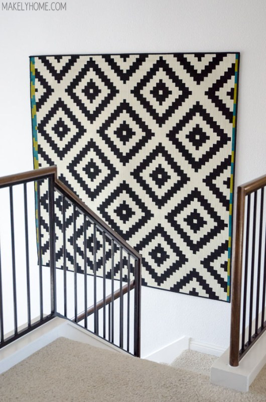 how to hang a rug on the wall for a large statement art (Makely)