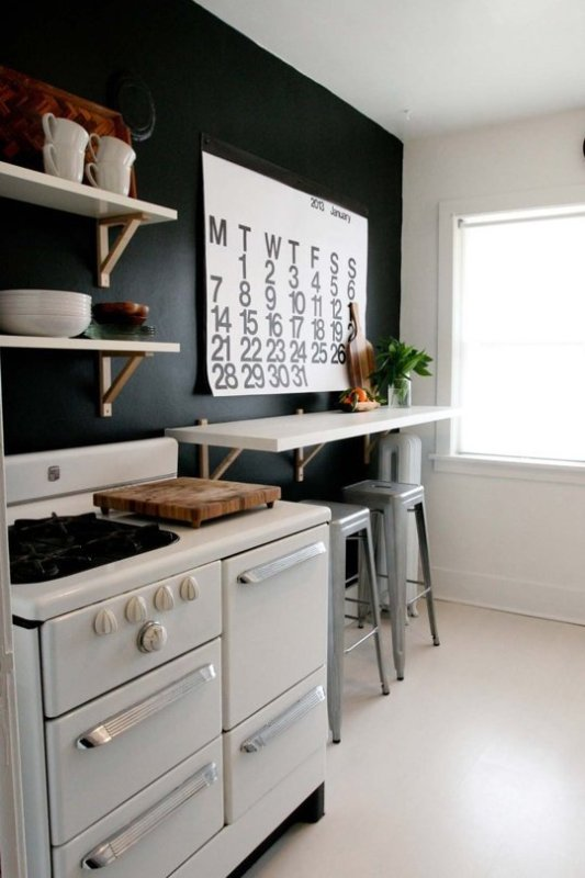 painted black kitchen wall (via the Kitchn)