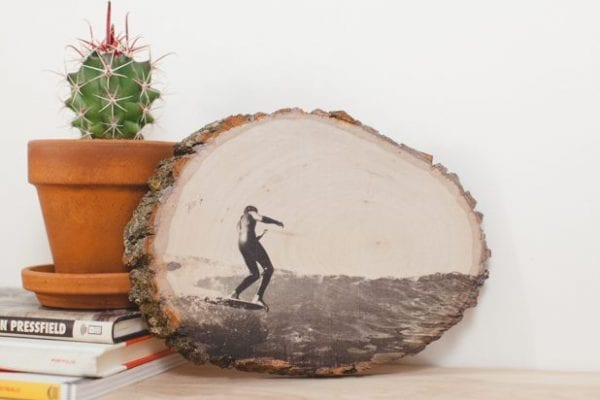 photo printed on a wood slice (ehow)