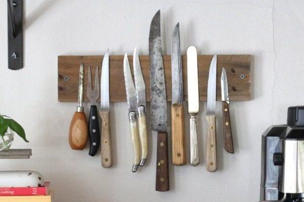 rustic knife storage wall rack (ehow)