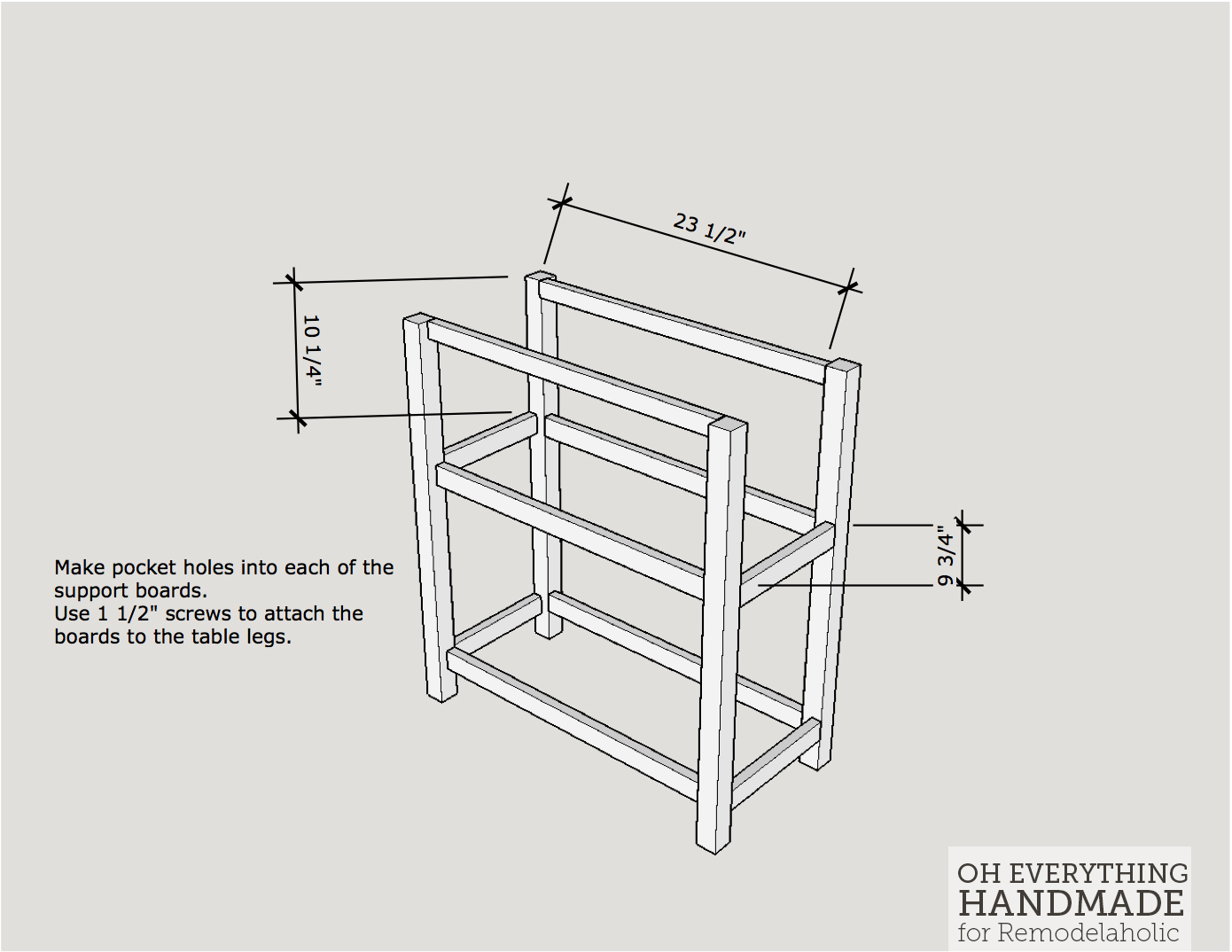 Craft Table made from scrap wood - How to attach the table legs1