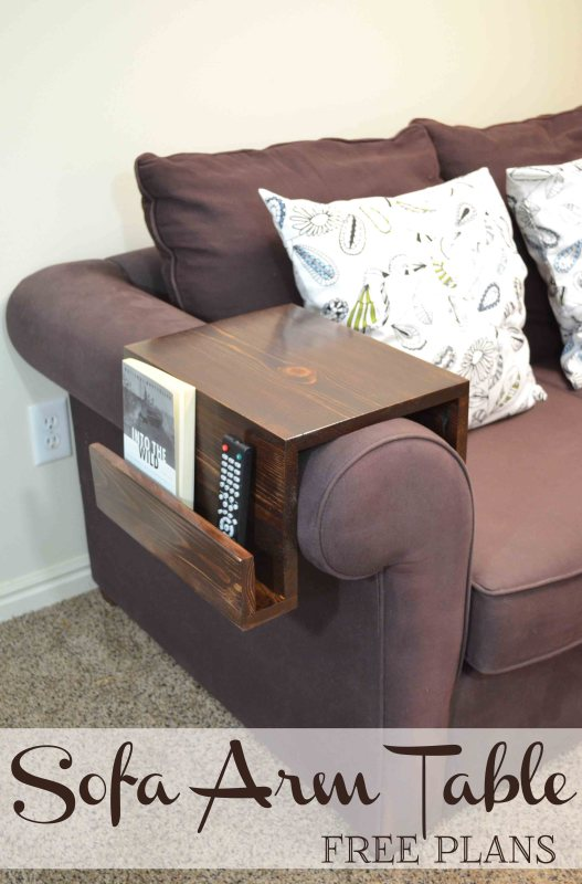 An easy customizable DIY sofa arm table keeps a drink or snacks close at hand, while organizing remotes or reading material, too..