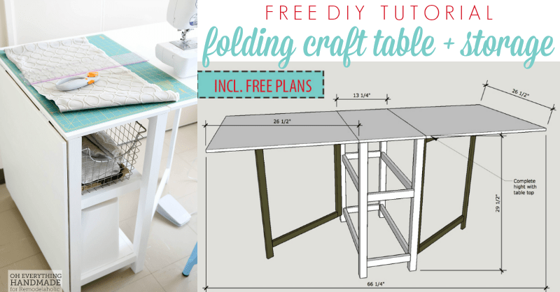 Remodelaholic Foldable Craft Table Made From Scrap Wood