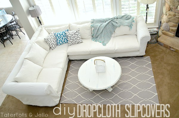 diy dropcloth slipcovers