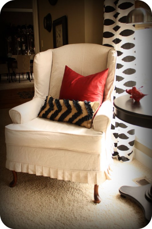 dropcloth slipcovered wingback chair