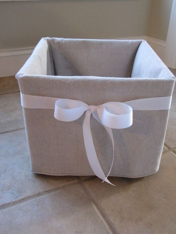 dropcloth covered milk crate