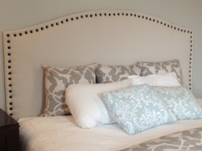 dropcloth headboard with nail head trim