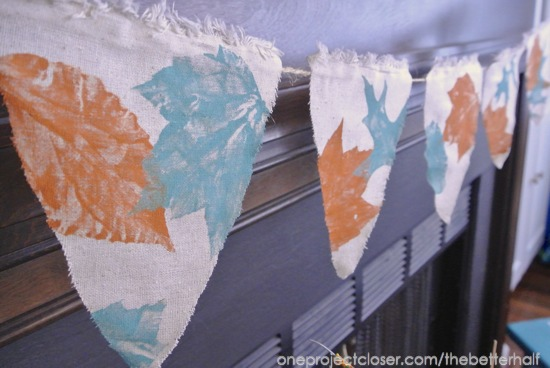 fall bunting made from a dropcloth