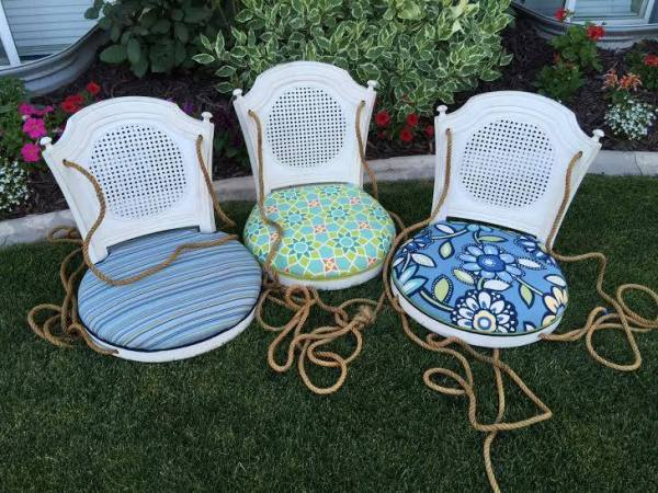 from Lori - turn a barstool into a padded outdoor swing and an end table (5)