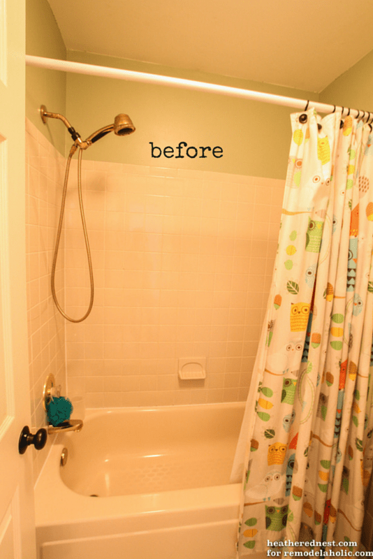 Stupendous Remodelaholic How To Update A Tile Shower Tub In A Weekend Download Free Architecture Designs Pushbritishbridgeorg