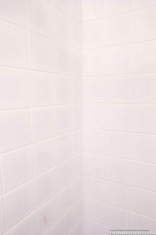 Remodelaholic How To Update A Tile Shower Amp Tub In A Weekend