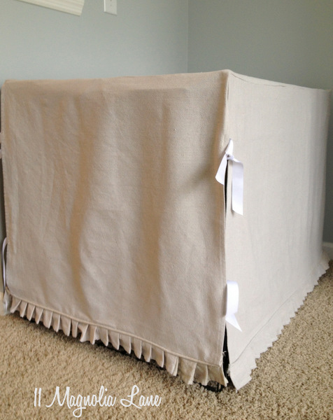 slipcovered dog crate from a dropcloth
