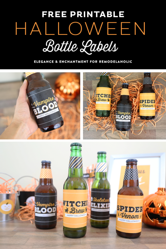 Free Printable Halloween Party Bottle Labels - four different designs for use on wine, beer, pop/soda bottles and more. An easy DIY way make your Halloween party a little more festive! Designs by Elegance and Enchantment for Remodelaholic