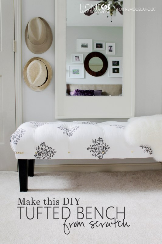 How to make this DIY tufted bench from scratch -- easy and sturdy!
